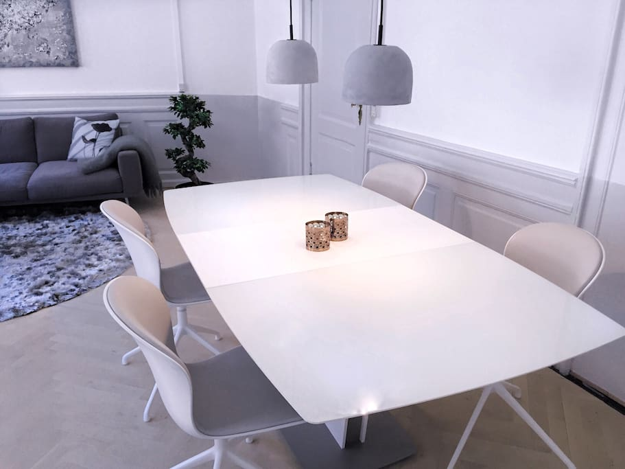 Dimmable lights, chairs can swivel,  bright and modern.