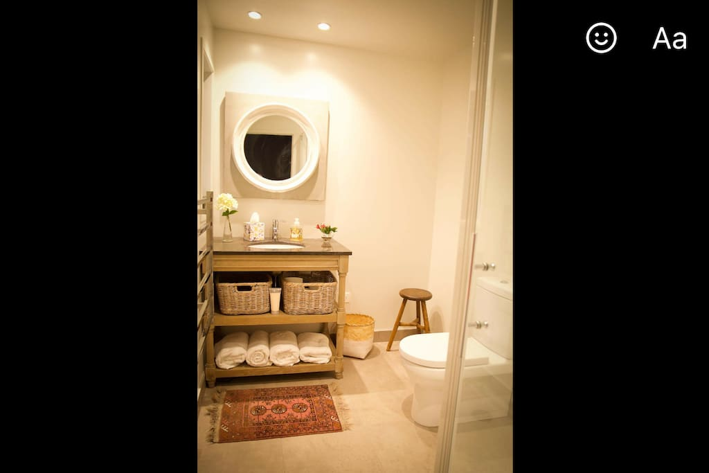 Heated floors and heated towel rail make this fully equipped bathroom very cosy. Quality toiletries.