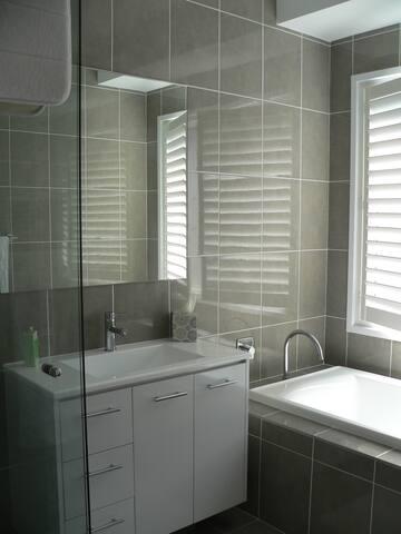 Semi-frameless shower and full-size bath in modern bathroom