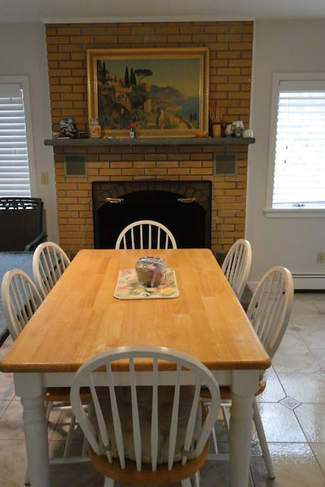 Fireplace & kitchen table