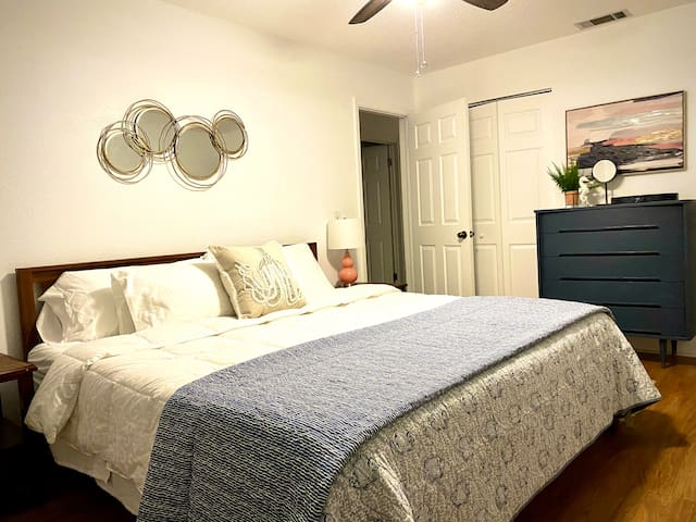 The master bedroom has a king-size memory foam mattress