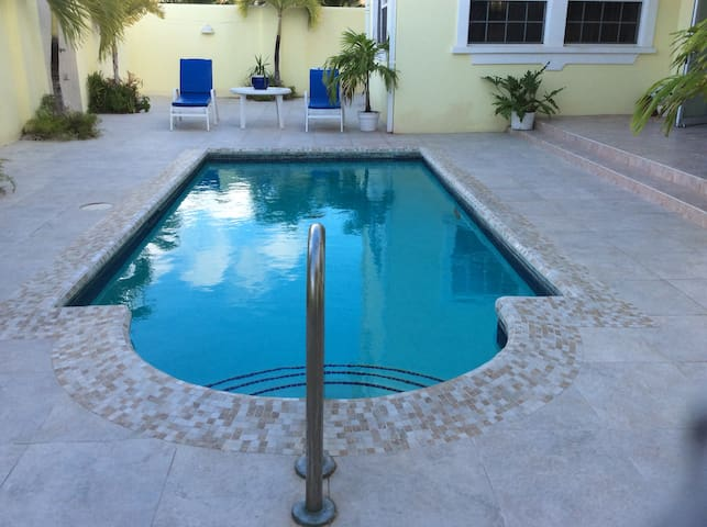 Another view of pool from the apartment
