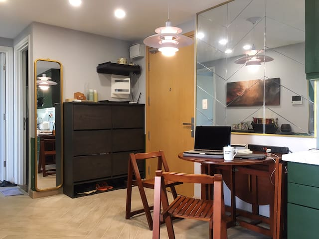 Dining Area with foldable table and chairs which you can also move around the house.