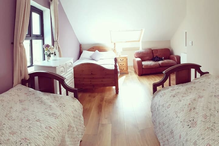 Upstairs is again very spacious with a double bed, two single beds and a two seater. There is a large roof window overlooking the Ballyhoura mountains