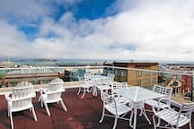 Rooftop sun deck with view of San Francisco Bay and Alcatraz