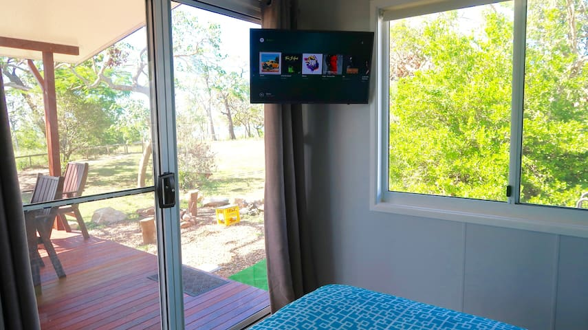 """An added comfort for our guests. 32"""" Smart TV features Foxtel, Netflix, Spotify plus more. Can be swivelled for outside viewing.  All connected to our very reliable in-house WiFi"""