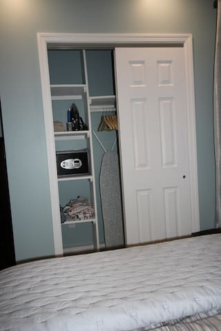 Closet with Security Safe, Iron and extra linens