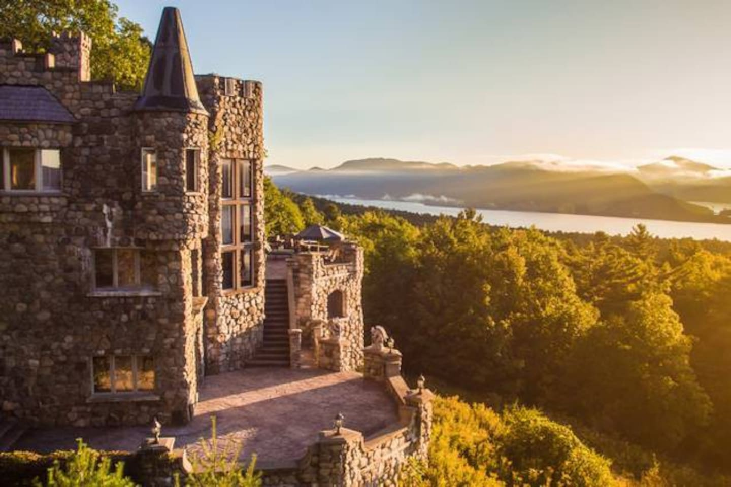 'The Royal Bedroom' in Highlands Castle has a magnificent view of Lake George and the Adirondack Mountains.
