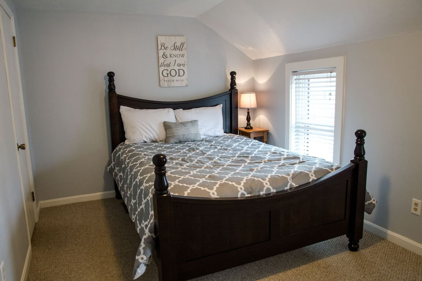 You will spend the  night a locally crafted Amish Hardwood queen bed!