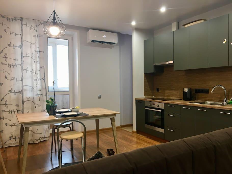Гостиная + кухня