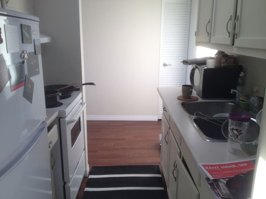 Kitchen area: fridge, microwave and oven