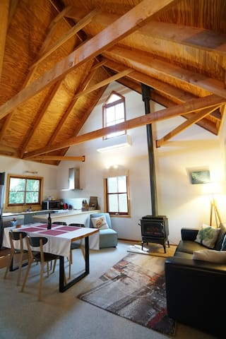 Traditional mountains cottage with enormous vaulted ceilings
