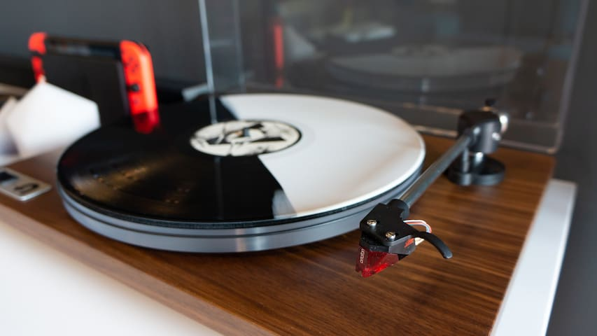 Vinyl records are played and appreciated in surround sound here.