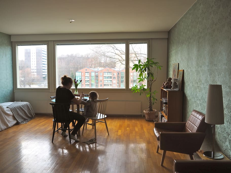 In the livingroom there's 4 chairs and a table which you can use for eating breakfast or to make it a workplace