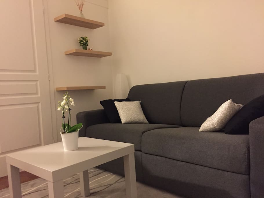 Small but confortable flat, with a new sofa bed, TV  and cupboards.