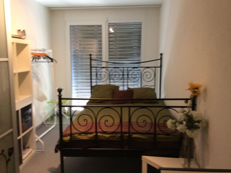 Another angle of bedroom includes ample storage, place to hang your clothes, bedside lamp in a big size room
