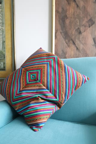 Andean inspired hand loomed cushion