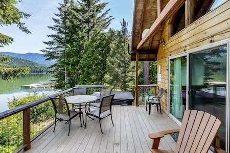 Lakefront, private dock, hot tub, sauna, WiFi, and get your fish on!- Journey's End on Fish Lake-2 Bedroom, 1.75 Bathroom