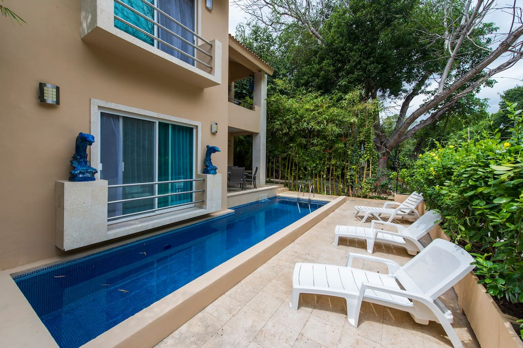 Enjoy a swim in the private pool!