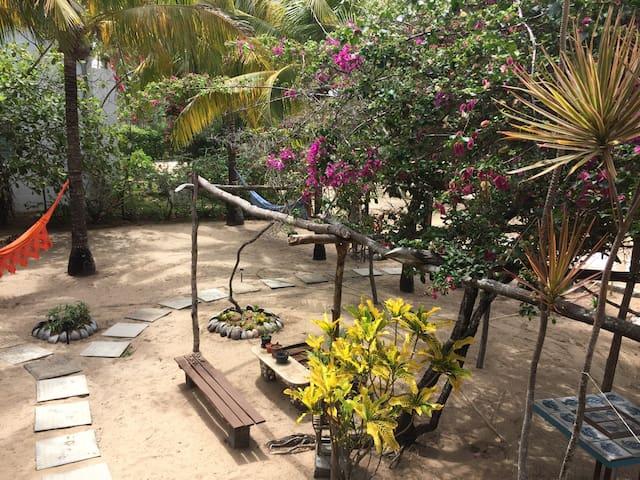 quintal com redes na sombra dos coqueiros