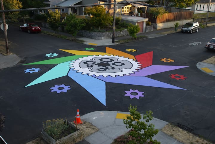 Bike inspired street art at our intersection.  The street that parallels the Bike Shed is a neighborhood greenway (aka a biking super-highway).