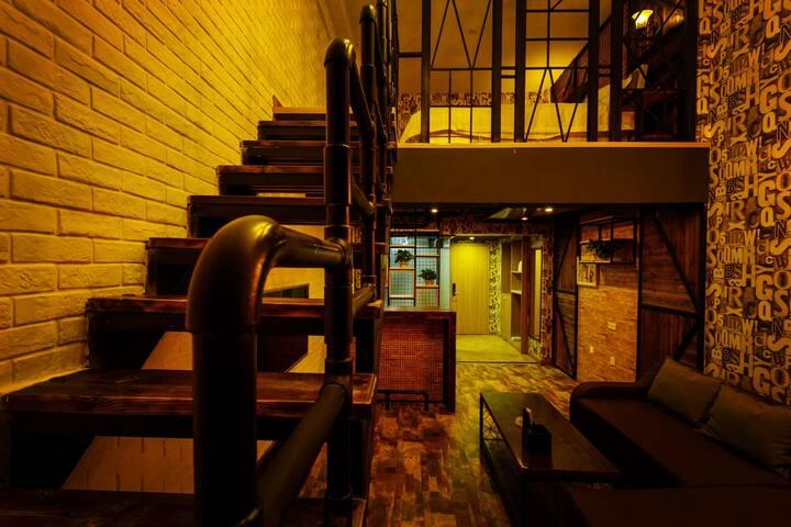 地铁二号线沈师沈工程方特七星海复式工业酒吧