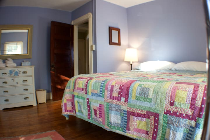Blue Room - King Bed (Sealy Foam & Jel - Great Mattress) - North and West Facing Windows -  Open Clothing Storage & Hanging Rack