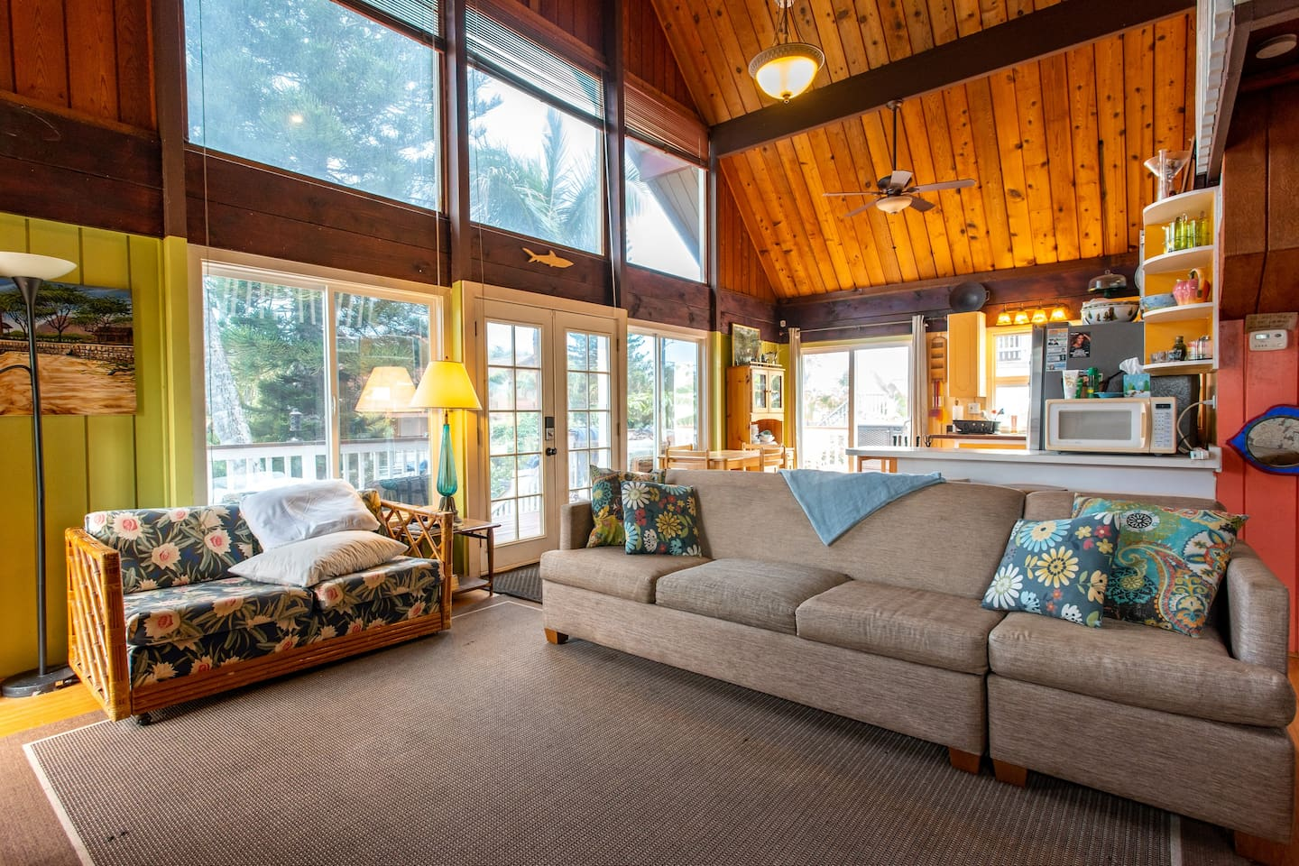Large picture windows let the light in through slightly tinted windows to cast a heavenly glow throughout!