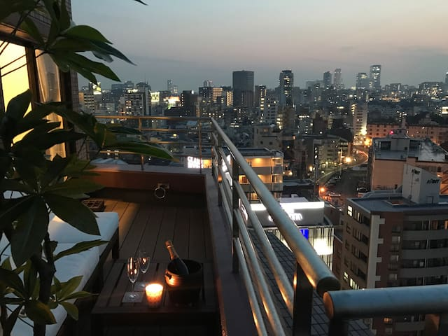 Stylish top floor Roppongi living with roofterrace - Minato - Leilighet