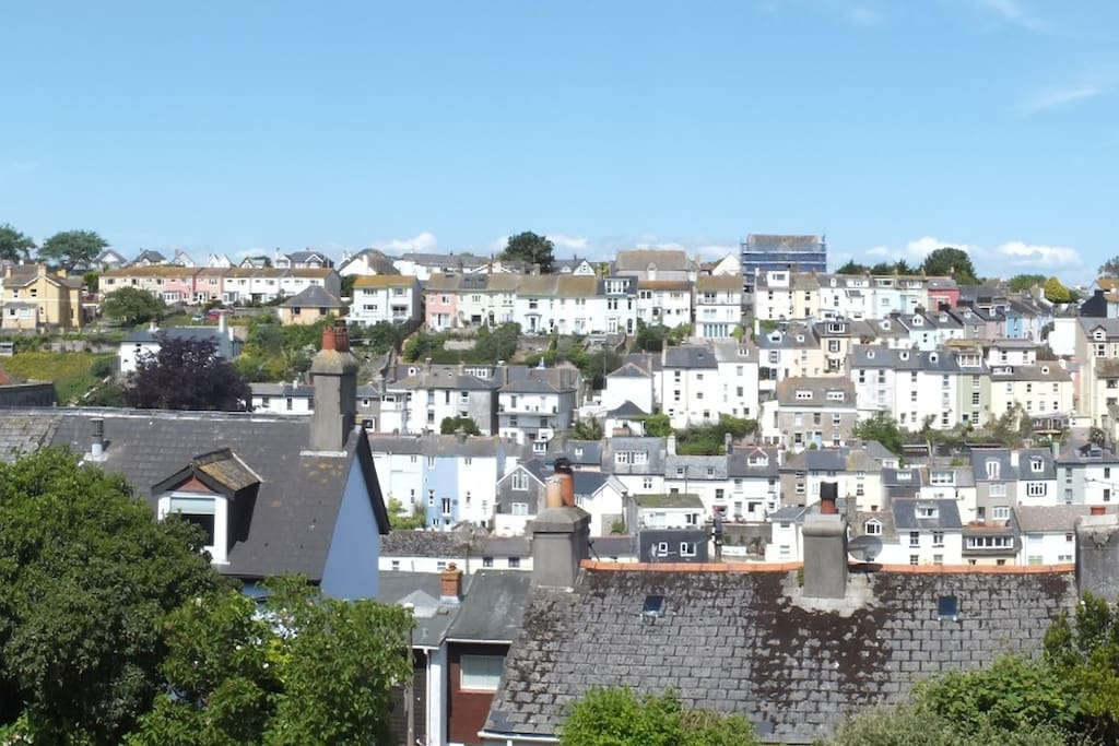 The Amazing View of Brixham Over the Rooftops from the Living Room Window.