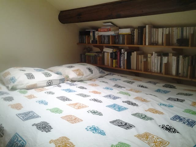 grand lit de 160, confortable. Si vous aimez lire, de nombreux ouvrage sà votre disposition.