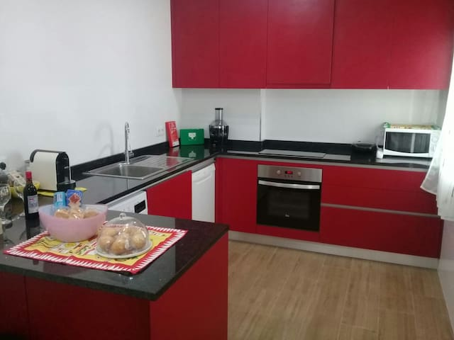 New kitchen with direct light and all equipped with all utensils to stay like home. Oven and stove from TEKA, sandwich maker and microwave. In addition to washing machine dishes, clothes washing and dryer. We offer tasty espresso coffe in your stay!