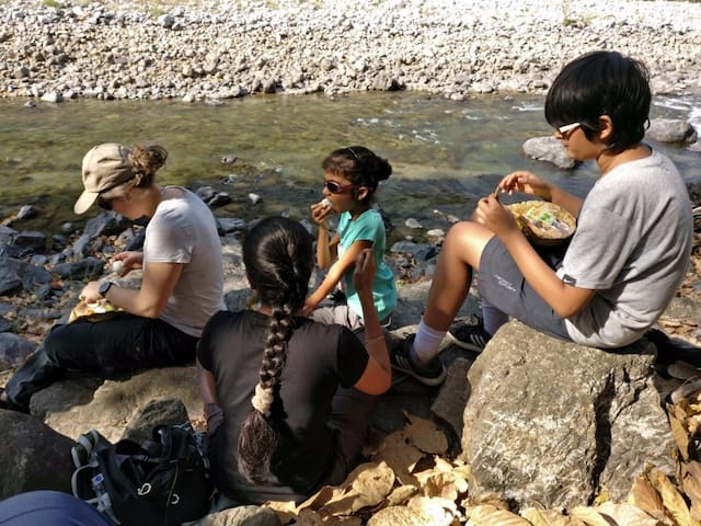 For some river side snacking after the trek