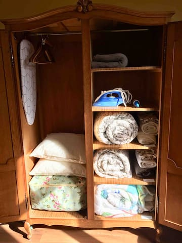 Iron, pillows, bedding sets and towels in the closet