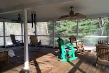 Sleeping porch:2 doubles and several chairs, rockers, etc.