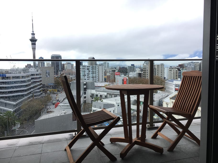 My balcony overlooking the Sky Tower