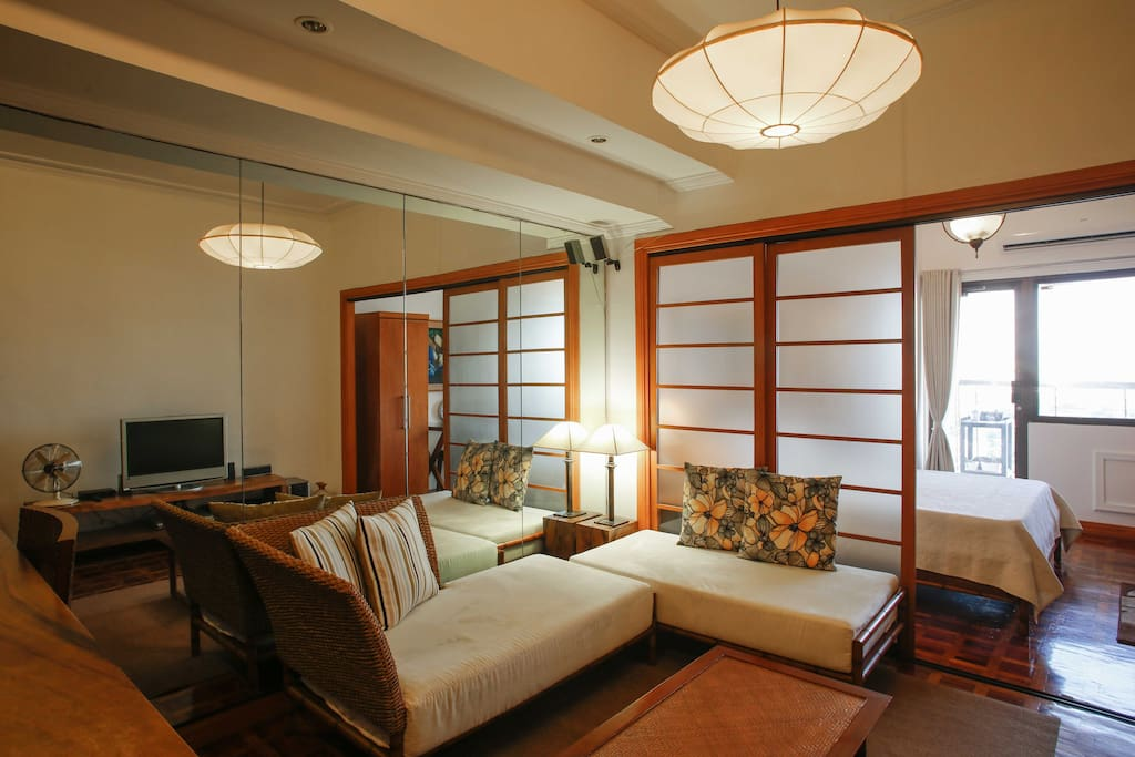 view of the living room and bedroom area