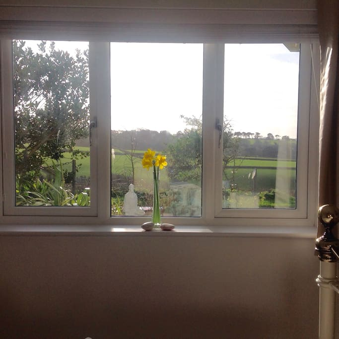 Cosy room with a beautiful view of the countryside down to the estuary.