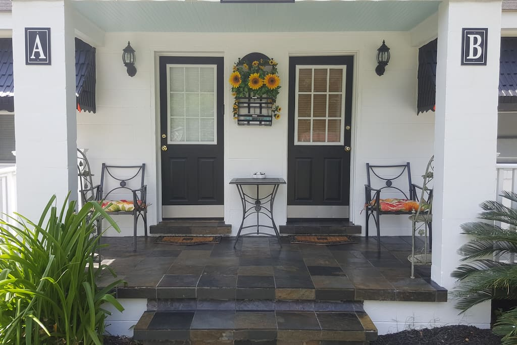 Front porch for socializing and grilling. Handicap ramp.