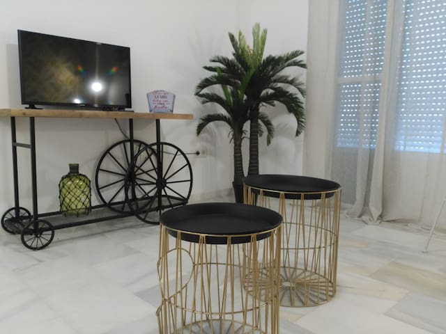 Salon con wifi gratis y pantalla TV plana.