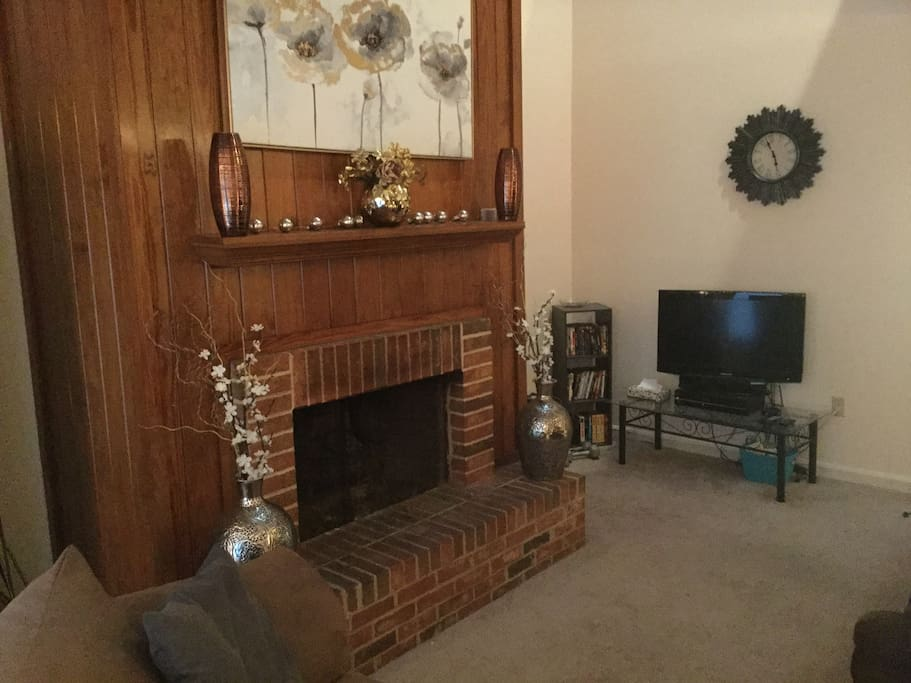 with a gas lit fireplace...