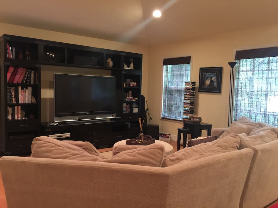 """63"""" tv and couch."""