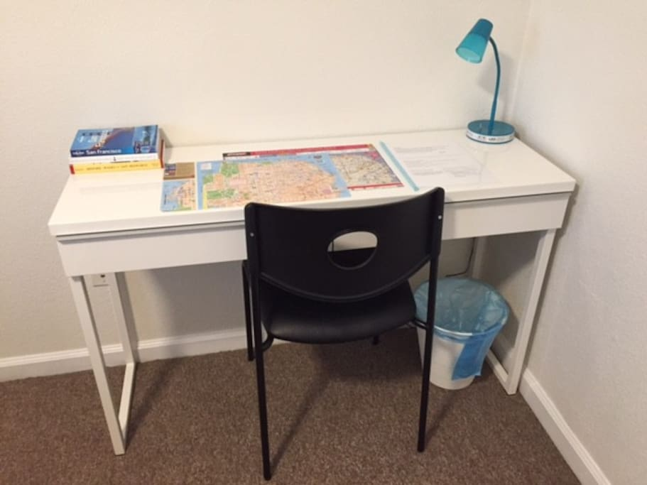 12/17/2016: New desk/chair with new SF guide books.  Free visitor map to SF.