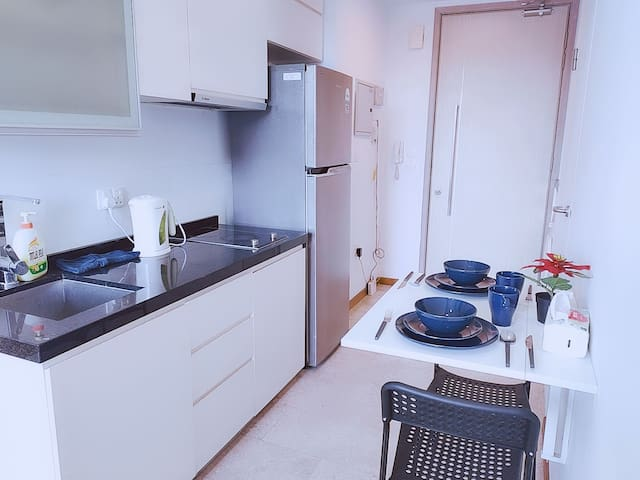 1 BR Condo with Roof-top Pool, 3 min to MRT (OS3)