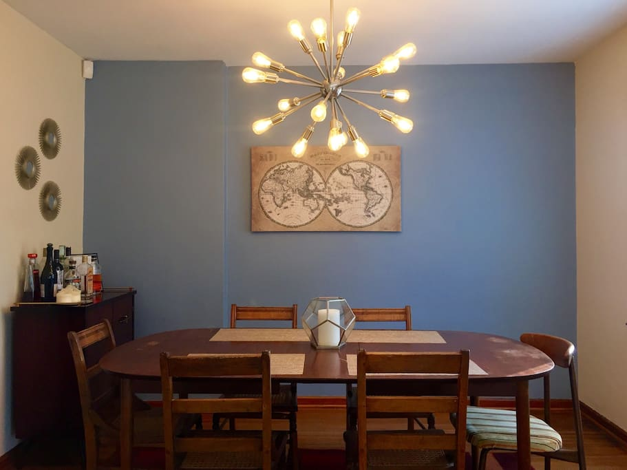 This well-lit dining space is great for meals overlooking the Broad Ripple canal. You can also have some fun playing with our provided art supplies or assortment of games (Checkers, Chess, Scribblish, Playing Cards, Poker Chips, Catch Phrase).