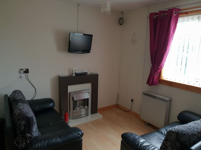 Storage heater plus electric fire. Digital t.v. with DVD.