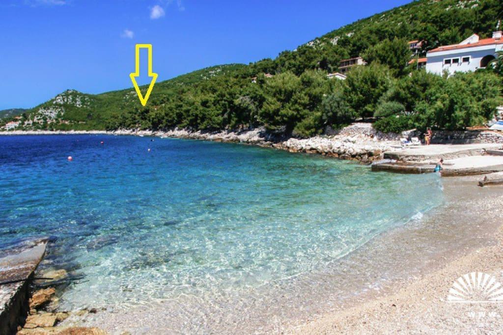 Šljunčana plaža - položaj objekta