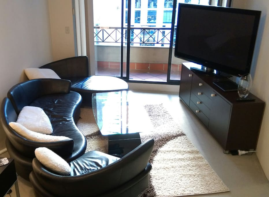 Our living room has a 58inch TV and a sofa/loveseat/chair combination for your viewing pleasure!
