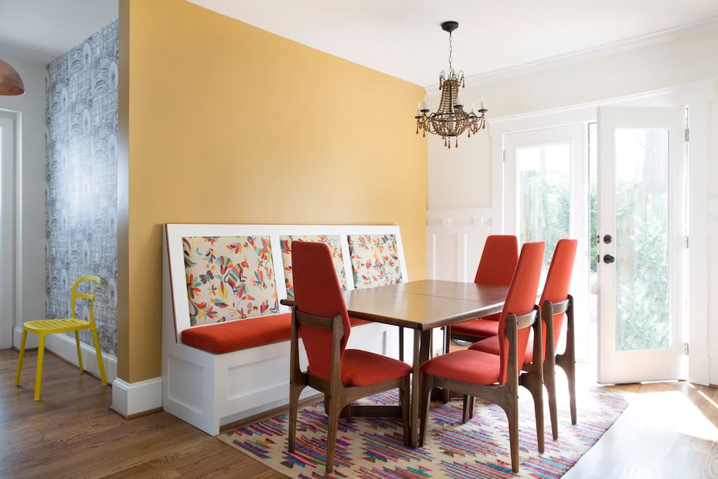 Enjoy your dinner in our bright, airy dining room. With doors leading to the backyard so you can enjoy the breeze.