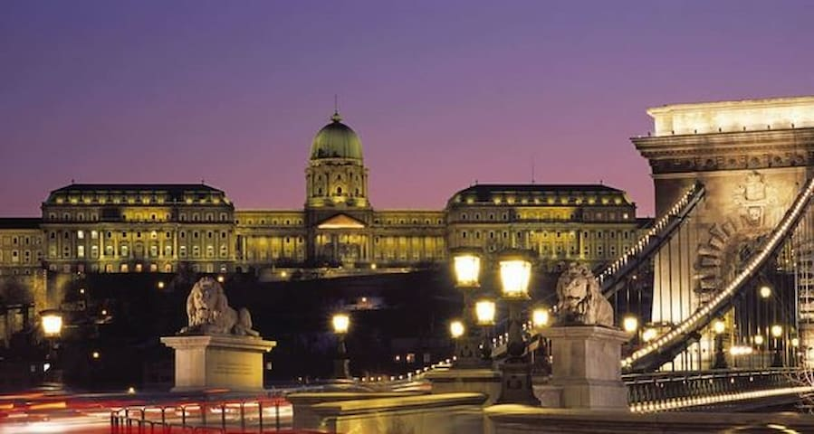 the Buda Castle and Chain bridge by night - take bus 105, which stops 2 minutes from the apartment